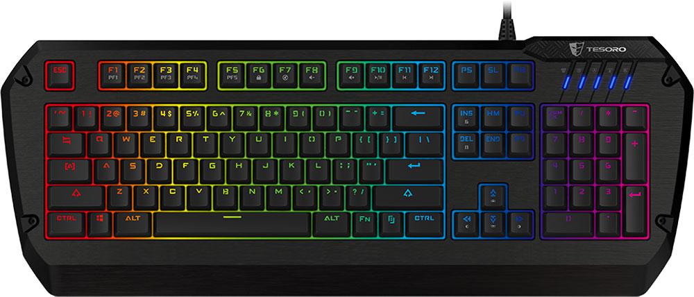 Tesoro Colada Evil Spectrum (Cherry MX Blue) игровая клавиатураTS-G3SFLTesoro Colada Evil Spectrum – это уникальная профессиональная клавиатура с металлическим корпусом и яркой полноцветной RGB-подсветкой. Она сочетает в себе все достоинства игровых клавиатур. Механические переключатели, прочность, встроенная память для полноценного программирования и полностью регулируемая подсветка - такого коктейля продвинутых фишек не было ещё ни в одном геймерском устройстве. В данной клавиатуре установлены переключатели Cherry MX Blue - выбор казуальных игроков и любителей активного общения. Чрезвычайно ускоряют набор текста. Имеют громкий щелчок и четкую отдачу. Клавиатура полностью локализована, обозначения на клавишах выполнены с помощью лазерной гравировки. Благодаря этому на клавиатуре подсвечиваются не только латинские, но и кириллические символы.