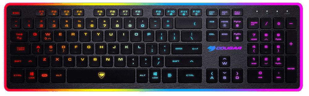 Cougar Vantar игровая клавиатура37VANXNMB.0003Клавиатура Cougar Vantar имеет ультранизкий профиль с коротким ходом клавиш, стильный дизайн, 8 режимов подсветки.Ножничный механизм с высоким профилем клавиш - настоящая находка для тех, кто хочет чтобы переключатели были тихими, как на мембранной клавиатуре, и четкими, с обратной связью и приятными ощущениями, как на механической и с привычным высоким профилем.19 наиболее часто использующихся клавиш имеют технологию Anti-Ghosting. Все 19 одновременно нажатых клавиш будут гарантированно обработаны компьютером без малейших задержек.Cougar Vantar окрасит в восемь самых ярких цветов игровые моменты. Зональная подсветка клавиш, восемь режимов подсветки, среди которых: дыхание, волна или мерцание, усилят наслаждение от времяпрепровождения в играх.Управляйте медиа-функциями с легкостью комбинаций клавиш FN + F. Управление звуком: громче, тише, выключение звука. Управление режимами подсветки. Блокировка клавиши Windows.Свободно меняйте местами кнопки WASD и стрелки на клавиатуре для большего удобства в играх и переключайтесь между ними комбинацией клавиш FN+W.Высокое качество противоскользящих резиновых ножек фиксирует клавиатуру Cougar Vantar на своем месте даже во время интенсивных игровых сессий.