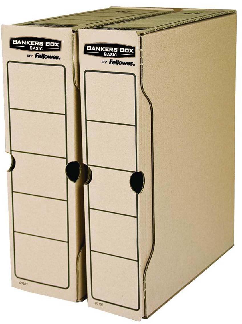 Fellowes Bankers Box Basic FS-00103 переносной архивный коробFS-00103Переносной архивный короб Bankers Box Basic 80 мм FS-00103 (с прочным замком) предназначен для хранения различных документов формата А4. Прочная конструкция из гофрированного картона. Для нанесения меток на короб используются поля на передней и задней стенках. Идеально подойдет для любого офисного интерьера и поможет правильно организовать рабочее пространство.