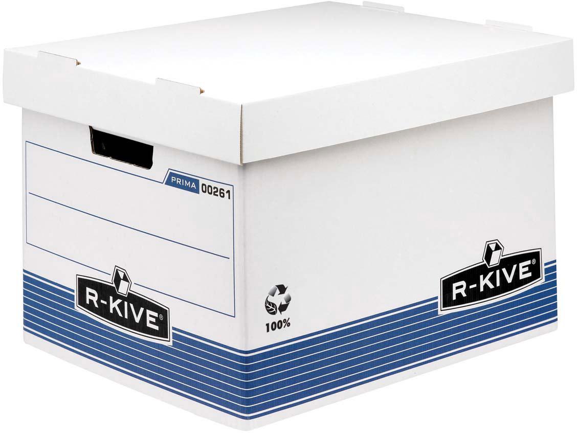Fellowes R-Kive Prima Standard архивный коробFS-00261Архивный короб с крышкой R-Kive Prima FS-0026101 обеспечивает компактное хранение документов и эргономичную организацию рабочего пространства. Усиленная конструкция стенок и основания короба из картона. Мгновенная сборка за счет технологии FastFold. Высокая крышка позволяет размещать в коробе подвесные папки формата А4.