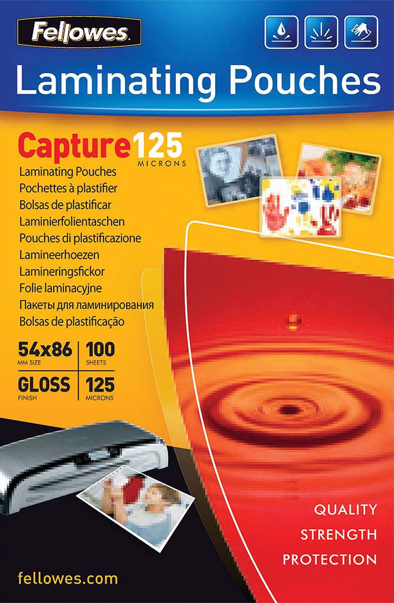 Fellowes FS-53063 54 х 86 мм пленка для ламинирования, 125 мкм (100 шт)FS-53063Пленка для горячего ламинирования глянцевая, с высоким содержанием полиэстера (50%). Используется для защиты документов от влаги, загрязнения, механических повреждений, придания жесткости и яркости. Обладает высокой прозрачностью.