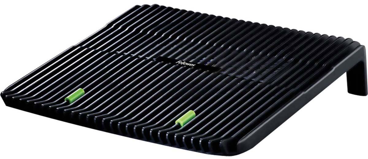 Fellowes FS-80189 охлаждающая подставка для ноутбукаFS-80189Охлаждающая подставка для ноутбука (fs-80189). Предназначена для ноутбуков до 17. Вентилятор, подключаемый через USB порт обеспечивает эффективное охлаждение. Нескользящая поверхность обеспечивает надежное положение ноутбука на подставке. Максимальная высота наклонной поверхности - 75мм.