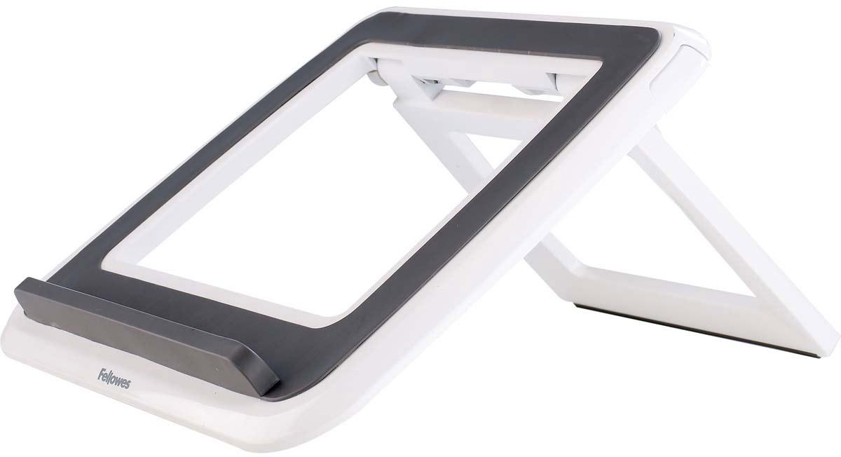"""Fellowes I-Spire Series, White Grey подставка для ноутбука до 17FS-82101Новая подставка для ноутбука серии I-Spire с регулировкой высоты и угла наклона экрана. Приподнимает экран ноутбука до комфортного угла обзора, обеспечивая правильное и комфортное положение плечевого пояса и глаз во время работы. Ограничитель на передней панели обеспечивает устойчивое положение ноутбука на подставке, конструкция предполагает пассивное охлаждение задней панели, тем самым предотвращая перегрев устройства. Стильный дизайн гармонично сочетается с любым интерьером. 7 вариантов угла наклона экрана. В сложенном состоянии - плоская для удобства в переноске. Возможно использование с внешней клавиатурой и мышью. Подходит для ноутбуков до 17"""". Доступна в белом и черном цвете. Размер подставки в сложенном виде: В42 х Ш320 х Г286 мм. Гарантия 1 год"""