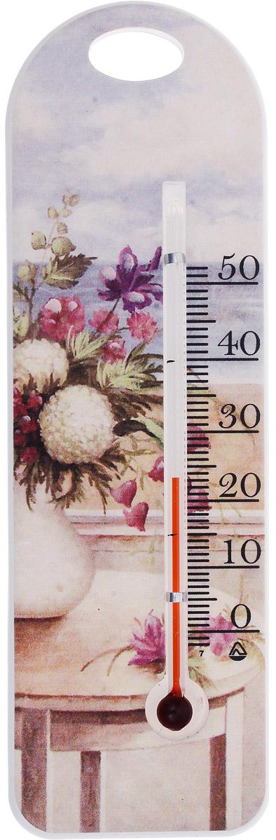 Термометр комнатный Стеклоприбор Цветы в вазе. П-15300194_цветы в вазеТермометр комнатный Стеклоприбор применяется для измерения температуры воздуха в помещении. Термометр выполнен из пластика с оригинальным рисунком, а колба изготовлена из ударопрочного стекла. Термометр оснащен широкой, подробной и наглядной шкалой. Изделие имеет широкий рабочий диапазон - от 0 до +50°С со шкалой деления в 10°С. Цена деления составляет 1°С. Изделие имеет специальное отверстие для крепления. Не содержит ртути. Для хорошего самочувствия и здоровья идеальный микроклимат в доме создаст температура +18…+24°С.