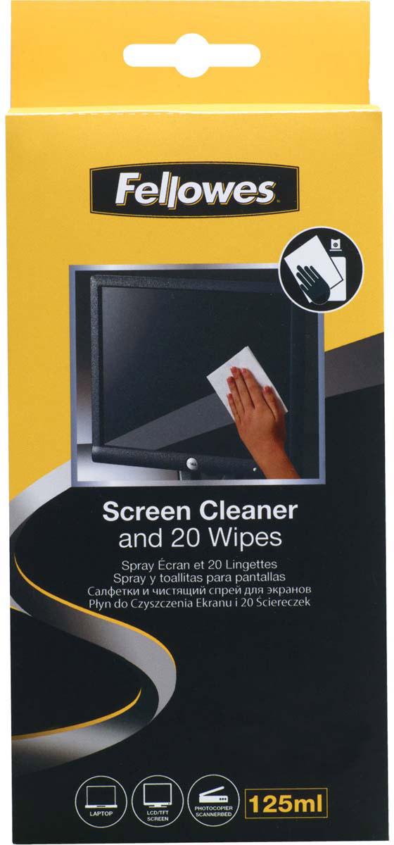 Fellowes FS-99701 набор для чистки экранов: чистящий спрей, абсорбирующие салфетки (20 шт)