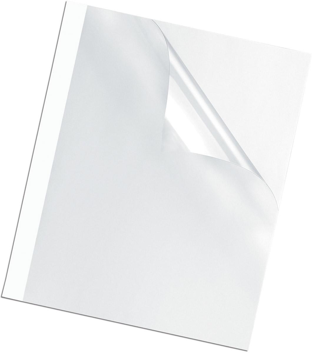 Fellowes A4 FS-53912 обложка для термопереплета, 8 мм (100 шт)FS-53912Обложка для термопереплета предназначена для оформления документов. Верх обложки – прозрачный PVC (150мкм), низ – глянцевый картон (220гр/кв.м). 100шт. в розничной упаковке.