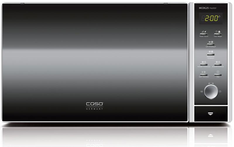 CASO MCDG 25 Master 4 in 1, Black Silver микроволновая печьMCDG 25 Master 4 in 1Микроволновая печь CASO MCDG 25 Master 4 in 1 работает в режиме гриля и оснащена конвекцией с 10 уровнями мощности (110-200°C). Таким образом, приготовление блюд происходит максимально равномерно, с сохранением полезных свойств продуктов. Есть возможность комбинировать режимы – печь имеет три комбинации режимов СВЧ и гриля и четыре комбинации СВЧ и конвекции.Данная модель имеет 9 предустановленных автоматических программ приготовления и размораживания. Уровень мощности микроволнового излучения можно регулировать – предусмотрены 10 уровней при максимальной мощности 900 Вт.Печь имеет электронную панель управления, состоящую из кнопочных и поворотного переключателей, и цифровой дисплей. Дверца модели – навесная и открывается при помощи кнопки.Внутренняя камера имеет покрытие из нержавеющей стали – прочного, гигиеничного, устойчивого к повреждениям материала. Среди прочих особенностей следует отметить наличие подсветки, таймера на 95 минут, часов и звукового сигнала окончания приготовления, который, при желании, можно отключить.Элегантная простота линий, лаконичность форм и отделки сделают эту модель заметным элементом современного кухонного интерьера.