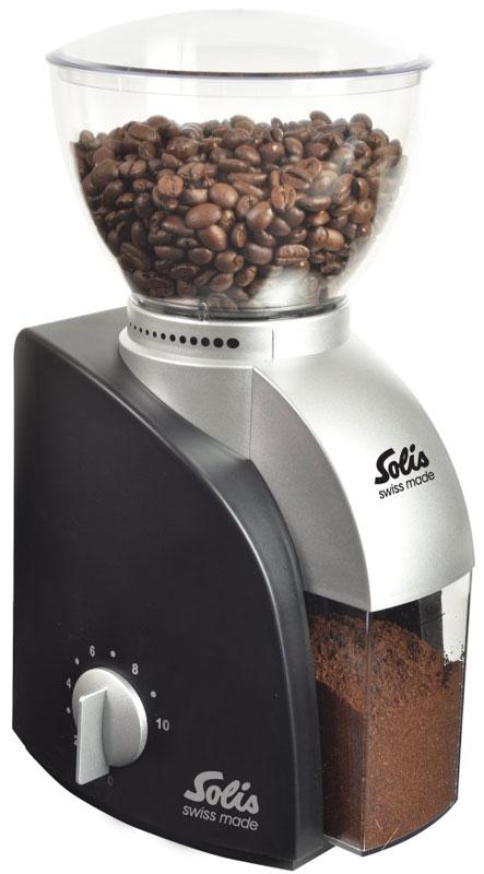 Solis Scala, Black кофемолкаScala Coffee grinder blackSolis Scala - это компактная и легкая кофемолка. Корпус выполнен из пластика. Сверху находится чаша, которую легко снять и в ней можно хранить кофейные зерна. Прочные долговечные конический жернова изготовлены из нержавеющей стали. Благодаря регулировке темпа помола и установки времени, вы можете контролировать точную дозировку кофе.