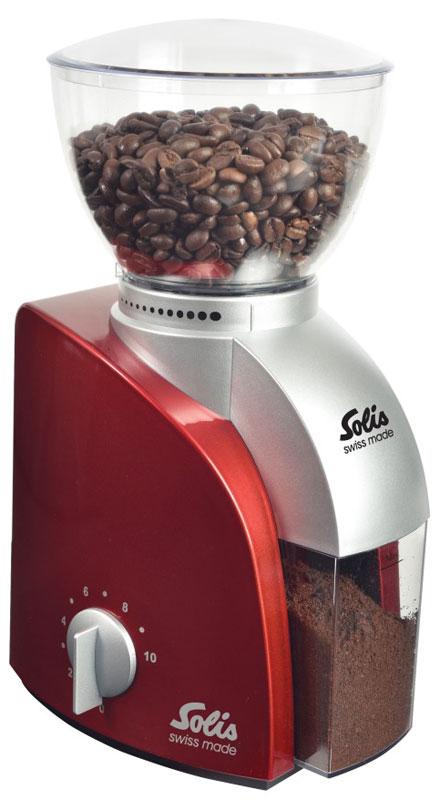 Solis Scala, Red кофемолкаScala Coffee grinder redSolis Scala - это компактная и легкая кофемолка. Корпус выполнен из пластика. Сверху находится чаша, которую легко снять и в ней можно хранить кофейные зерна. Прочные долговечные конические жернова изготовлены из нержавеющей стали. Благодаря регулировке темпа помола и установки времени, вы можете контролировать точную дозировку кофе.