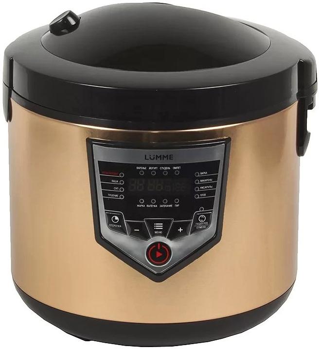 Lumme LU-1446 Chef Pro, Black Gold мультиваркаLU-1446 Black-GoldМультиварка LU-1446 – это высокотехнологичная кухонная техника для легкого приготовления всевозможных блюд с сохранением всех питательных свойств продуктов!Программы для мультварок – это удобно, быстро и очень вкусно! Перейдите на новый уровень владения кулинарным искусством с помощью готовых программ LUMME-1446!45 программ приготовления (15 автоматических программ и 30 ручных настроек) позволяют приготовить множество новых блюд! Помимо стандартного для большинства мультиварок набора блюд теперь вы можете готовить йогурты, жаркое, студень, заливное, буженину, томить мясо как в русской печи, варить варенье или морс.Для каждой из 15 автоматических программ подобраны оптимальные значения времени и температуры приготовления, загружаемые по умолчанию при запуске программы.Также, одной из главных особенностей мультиварки LUMME-1446 является возможность ручной настройки времени (от 1 минуты до 15 часов с шагом в 1 минуту) и температуры приготовления (от 30 до 170°C с шагом в 1°C) в настройках любой программы (кроме программы Йогурт), что позволяет задать 30 вариантов ручных настроек программ приготовления.Ручные настройки в сочетании с Вашим опытом помогут добиться наиточнейшего выполнения рецептов и создания новых! Наши эксперты создали для Вас автоматические программы. Станьте экспертом и Вы – создайте свои собственные режимы приготовления по Вашим лучшим рецептам!В нашей мультиварке предусмотрена функция «Мультиповар», которая позволяет устанавливать любые настройки времени и температуры для приготовления ваших любимых блюд. Диапазон установки температуры – от 30 до 170°С с шагом в 1 градус. Диапазон установки времени – от 1 минуты до 15 часов с шагом в 1 минуту. С «Мультиповаром» Вы ни чем не ограничены. Любой рецепт, рассказанный по секрету старыми друзьями или найденный в выцветших строчках забытой на полке кулинарной книги, теперь может обрести новую жизнь и порадовать не только вас, но и Ваших близких!