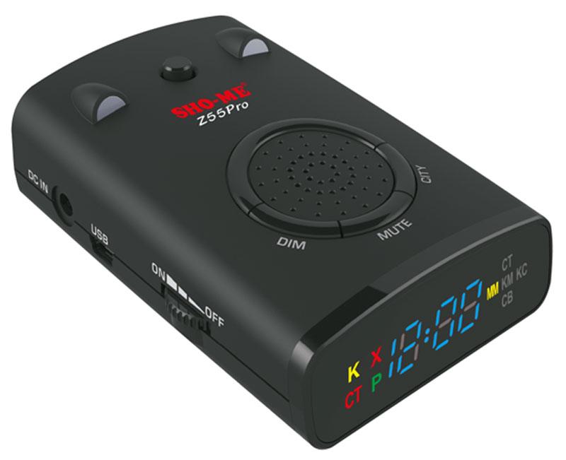 Sho-Me Z55 Pro радар-детекторZ55 PROРадар-детектор Sho-Me Z55 Pro оснащен GPS-антенной, которая позволяет обнаруживать безрадарные комплексы и оповещать пользователя о типе радаров или камер, определяемых с помощью GPS, а также о лимите скорости, установленном на контролируемом участке. Sho-Me Z55 Pro определяет сигналы во всех диапазонах, в которых работают полицейские радары. Пользователю предоставляется возможность обновлять базу камер/радаров, а также программное обеспечение. Удобное меню настроек с голосовым оповещением обеспечивает простое управление. Четкое определение сигналов всех необходимых диапазонов (X, Ultra X, K, Ultra K, Ka, Ku), сигналов системы VG-2 и лазерных сигналов Определение сигналов комплекса Стрелка GPS-антенна с возможностью обновления базы камер и внесения точек пользователя (POI) в память прибора Уникальные функции, которые реализуются благодаря GPS-антенне: отслеживание скорости ТС и пройденной дистанции, часы, компас, отсечение ложных...