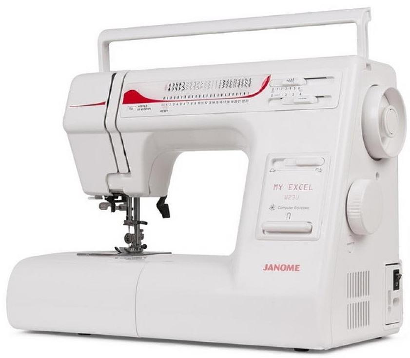 Janome My Excel W23U швейная машинаW23UОптимальный набор операций данной модели позволит Вам создать изделие любой сложности. Возможность регулирования давления лапки на ткань облегчает работу даже с самыми сложными и капризными материалами. Операция «петля-автомат» поможет аккуратно и быстро справиться с любым количеством петель на Вашем изделии. Современное горизонтальное челночное устройство облегчит уход за Вашей машиной. Функция «Плавная регулировка скорости» позволит без проблем работать в любом режиме.Отличительные особенности:Горизонтальный челнокНитевдевательНитеобрезательШирина зиг-зага 6.5Длина стежка 4 ммРегулятор давления лапки на тканьРегулятор натяжения верхней нитиРегулятор скорости шитья на корпусе машиныРегулятор баланса петлиУстановка верхнего/нижнего положения иглыСъемная рукавная платформаСвободный рукавЖесткий чехолТехнические характеристики:Выполняет 23 вида строчки:РабочиеОверлочныеДекоративныеТрикотажныеПетля-автомат