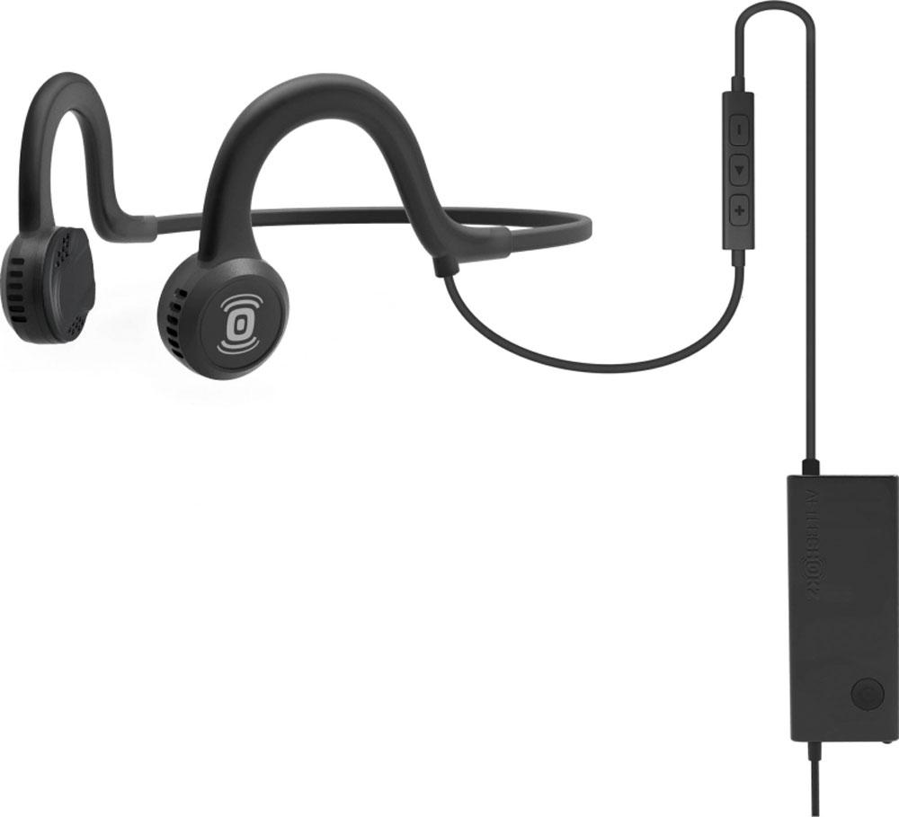 Aftershokz Sportz Titanium, Black наушникиAS451XBAfterShokz Sportz Titanium - это спортивная гарнитура с уникальной технологией проводимости звука непосредственно в кость. Гарнитура позволяет прослушивать музыку до 12 часов на одном заряде батареи, а время зарядки составляет всего два часа. Использованная в AfterShokz Sportz Titanium технология PremiumPitch (костная проводимость звука) позволяет слушать музыку и происходящее вокруг одновременно. Данная особенность позволяет сосредоточится на тренировке, но при этом быть всегда на чеку. Максимальное звуковое давление у данной модели составляет 101 дБ, что обеспечит достаточно высокую громкость наушников. AfterShokz Sportz Titanium изготовлены из качественных и прочных материалов, основным из которых является титан. Гарнитура крепится на затылке и имеет гибкое крепление, благодаря чему она не вызывает дискомфорта при интенсивных тренировках. При входящем звонке музыка отключается и автоматически активируется микрофон.