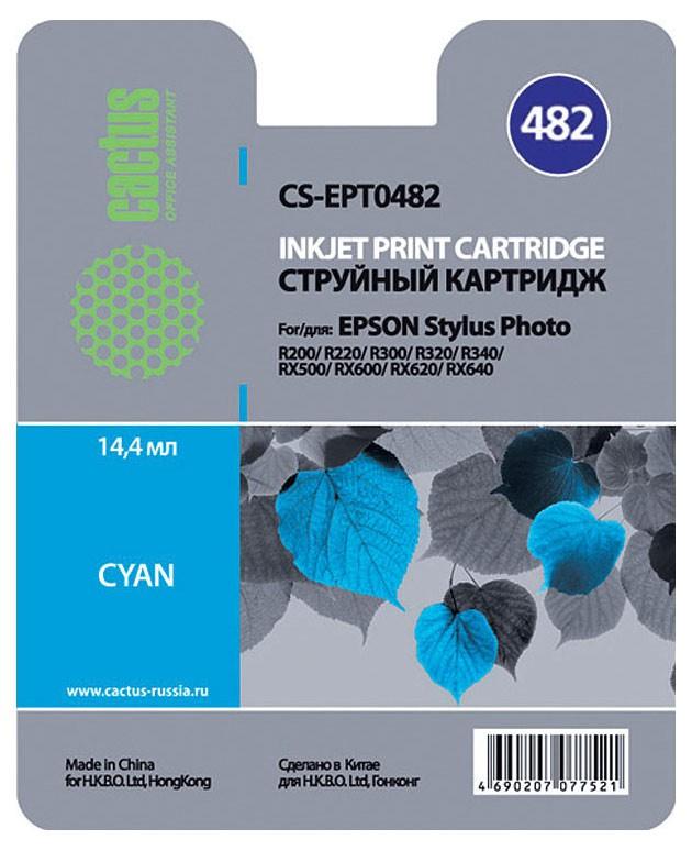 Cactus CS-EPT0482, Cyan струйный картридж для Epson Stylus Photo R200/ R220/ R300/ R320/ R340