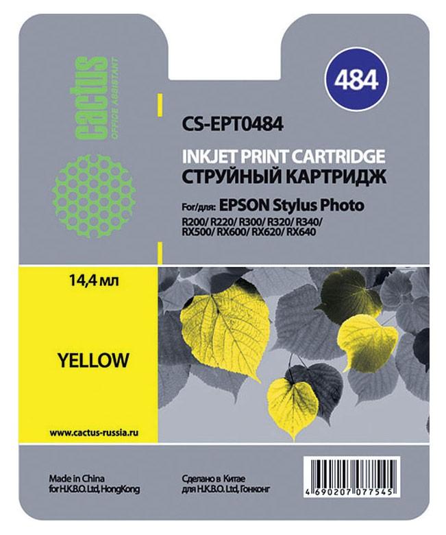 Cactus CS-EPT0484, Yellow струйный картридж для Epson Stylus Photo R200/ R220CS-EPT0484Картридж Cactus CS-EPT0484 для струйных принтеров Epson.Расходные материалы Cactus для печати максимизируют характеристики принтера. Обеспечивают повышенную четкость изображения и плавность переходов оттенков и полутонов, позволяют отображать мельчайшие детали изображения. Обеспечивают надежное качество печати.