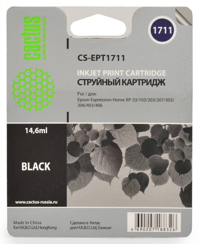 Cactus CS-EPT1711, Black струйный картридж для Epson Expression Home XP-33/103/203/207/303/306/403/406CS-EPT1711Картридж Cactus CS-EPT1711 для струйных принтеров Epson. Расходные материалы Cactus для монохромной печати максимизируют характеристики принтера. Обеспечивают повышенную чёткость чёрного текста и плавность переходов оттенков серого цвета и полутонов, позволяют отображать мельчайшие детали изображения. Обеспечивают надежное качество печати.