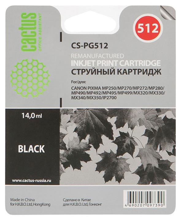 Cactus CS-PG512 струйный картридж для Canon Pixma MP250/MP270/MP272/MP280/MP490CS-PG512Картридж Cactus CS-PG512 для струйных принтеров Canon. Расходные материалы Cactus для монохромной печати максимизируют характеристики принтера. Обеспечивают повышенную чёткость чёрного текста и плавность переходов оттенков серого цвета и полутонов, позволяют отображать мельчайшие детали изображения. Обеспечивают надежное качество печати.