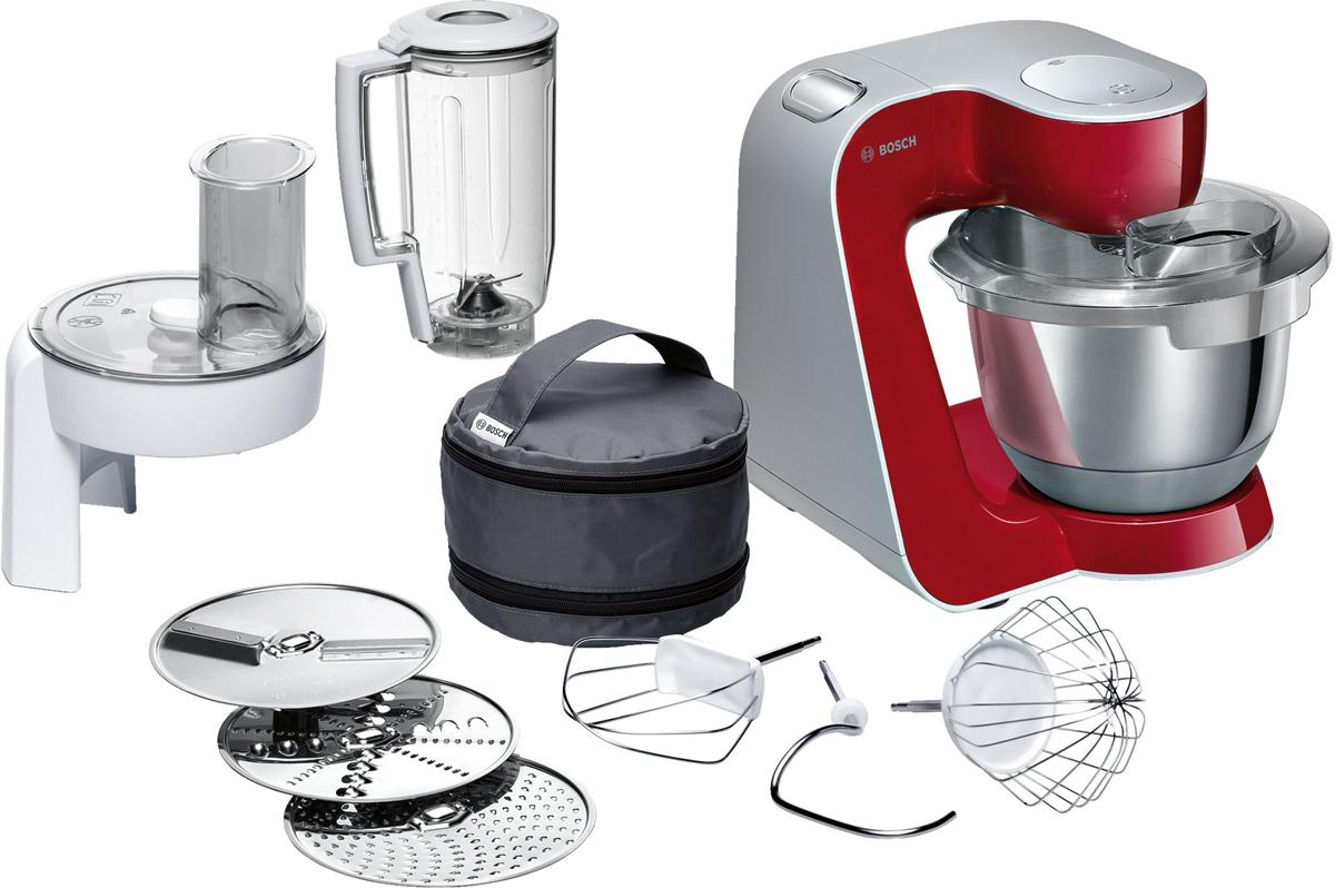 Bosch MUM58720 кухонный комбайнMUM 58720Bosch MUM58720 - мощная кухонная машина с многосторонними возможностями для готовки и выпечки.Данная модель легко обрабатывает большие количества ингредиентов (до 1 кг муки плюс ингредиенты) благодаря мощному мотору 1000 Вт.Отличное качество замеса теста благодаря особой форме внутренней поверхности чаши и благодаря планетарному вращению насадок в трех плоскостях 3D. Возможно замесить до 2,7 кг легкого теста/ 1,9 кг дрожжевого теста.Прибор просто и удобно использовать благодаря функции автоматического поднятия рычага EasyArmLift. Функция автопарковки упрощает процесс смены насадок.Особую многофункциональность обеспечивают высококачественные кондитерские насадки (венчик для взбивания, венчик для смешивания, насадка для замешивания теста) и долговечный измельчитель с тремя дисками для разных типов измельчения: измельчения, шинковки и нарезки и блендер.Прибор легко чистить благодаря гладкой поверхности. А насадки можно мыть в посудомоечной машине.