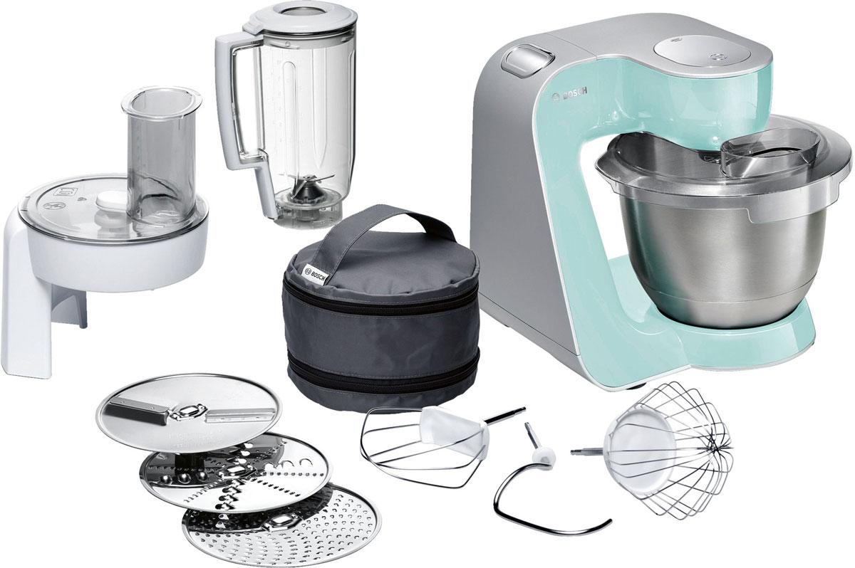 Bosch MUM58020 кухонный комбайнMUM 58020Bosch MUM58020 - мощная кухонная машина с многосторонними возможностями для готовки и выпечки.Данная модель легко обрабатывает большие количества ингредиентов (до 1 кг муки плюс ингредиенты) благодаря мощному мотору 1000 Вт.Отличное качество замеса теста благодаря особой форме внутренней поверхности чаши и благодаря планетарному вращению насадок в трех плоскостях 3D. Возможно замесить до 2,7 кг легкого теста/ 1,9 кг дрожжевого теста.Прибор просто и удобно использовать благодаря функции автоматического поднятия рычага EasyArmLift. Функция автопарковки упрощает процесс смены насадок.Особую многофункциональность обеспечивают высококачественные кондитерские насадки (венчик для взбивания, венчик для смешивания, насадка для замешивания теста) и долговечный измельчитель с тремя дисками для разных типов измельчения: измельчения, шинковки и нарезки и блендер.Прибор легко чистить благодаря гладкой поверхности. А насадки можно мыть в посудомоечной машине.