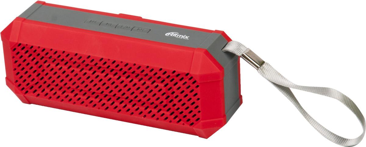 Ritmix SP-260B, Red портативная акустическая система15118770(BTH+TF+USB+AUX+FM) Портативная Bluetooth 2.1+EDR миниколонка, встр FM радио, мощн 6 Вт(2*3Вт 40мм),диап.част.100-20000 Гц, мр3-плеер(с micro SD/USB),лин. вход AUX 3,5мм, Li-ion акк400мАч, с ремешком-петлей для прогулок и путешествий, цвет-красный
