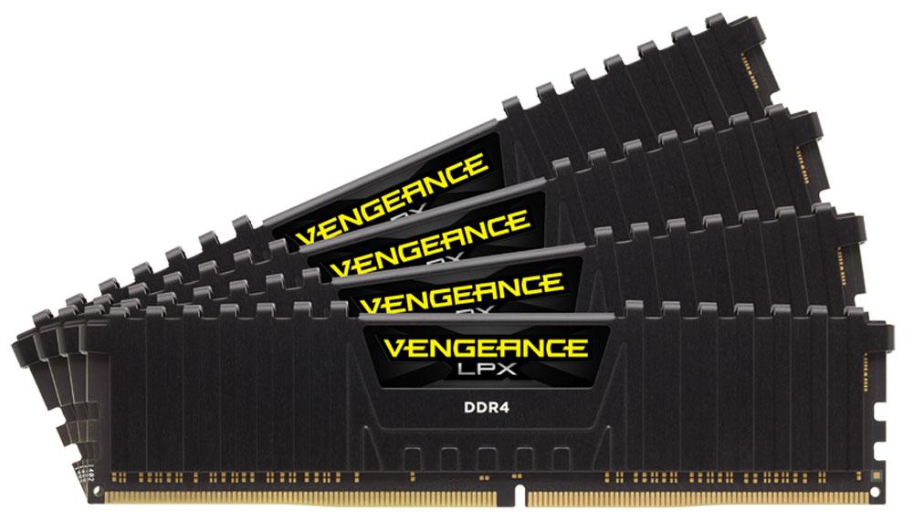 Corsair Vengeance LPX DDR4 4x8Gb 2800 МГц, Black комплект модулей оперативной памяти (CMK32GX4M4A2800C16)CMK32GX4M4A2800C16Модули памяти Vengeance LPX разработаны для более эффективного разгона процессора. Теплоотвод выполнен из чистого алюминия, что ускоряет рассеяние тепла, а восьмислойная печатная плата значительно эффективнее распределяет тепло и предоставляет обширные возможности для разгона. Каждая интегральная микросхема проходит индивидуальный отбор для определения уровня потенциальной производительности.Форм-фактор DDR4 оптимизирован под новейшие материнские платы серии Intel X99/100 Series и обеспечивает повышенную частоту, расширенную полосу пропускания и сниженное энергопотребление по сравнению с модулями DDR3. В целях обеспечения стабильно высокой производительности модули Vengeance LPX DDR4 проходят тестирование совместимости на материнских платах серии X99/100 Series. Имеется поддержка XMP 2.0 для удобного разгона в автоматическом режиме.Максимальная степень разгона ограничивается рабочей температурой. Уникальный дизайн теплоотвода Vengeance LPX обеспечивает оптимальный отвод тепла от интегральных микросхем в канал охлаждения системы, чтобы вы могли добиться большего.Vengeance LPX будет готов к появлению первых материнских плат Mini-ITX и MicroATX для памяти DDR4. Его компактный форм-фактор оптимально подходит для размещения в небольших корпусах или в системах, где требуется оставить свободным максимум внутреннего пространства.
