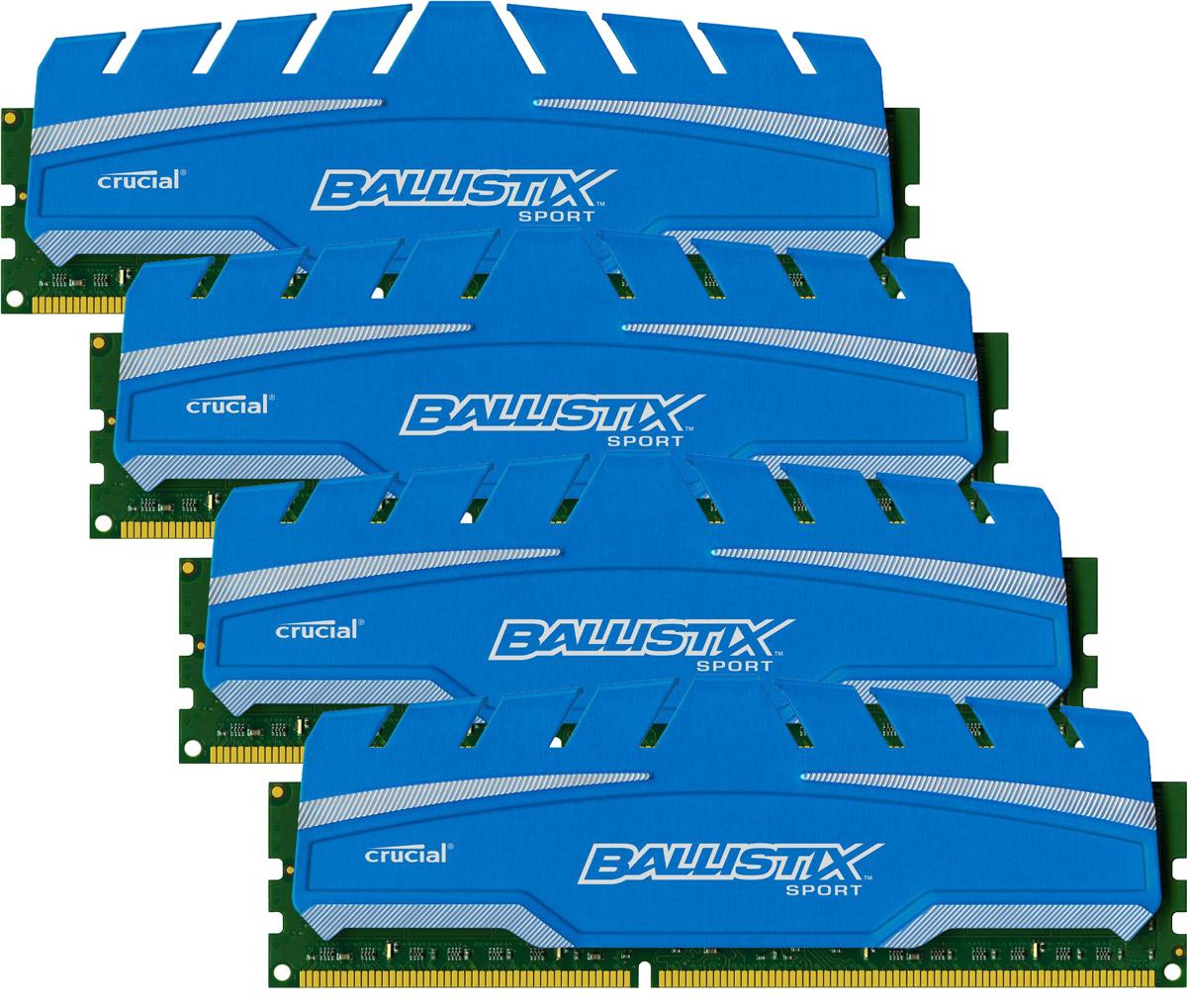 Crucial Ballistix Sport XT DDR3 4x8Gb 1866 МГц комплект модулей оперативной памяти (BLS4C8G3D18ADS3BEU)BLS4C8G3D18ADS3BEUМодули оперативной памяти Crucial Ballistix Sport XT типа DDR3 предоставляют качество работы, надежность и производительность, требуемую для современных компьютеров сегодня. Оснащены теплоотводом, выполненным из чистого алюминия, что ускоряет рассеяние тепла.Общий объем памяти составляет 32 ГБ, что позволит свободно работать со стандартными, офисными и профессиональными ресурсоемкими программами, а также современными требовательными играми. Работа осуществляется при тактовой частоте 1866 МГц и пропускной способности, достигающей до 14900 Мб/с, что гарантирует качественную синхронизацию и быструю передачу данных, а также возможность выполнения множества действий в единицу времени. Параметры тайминга 10-10-10-30 гарантируют быструю работу системы. Имеется поддержка XMP для удобного разгона в автоматическом режиме.