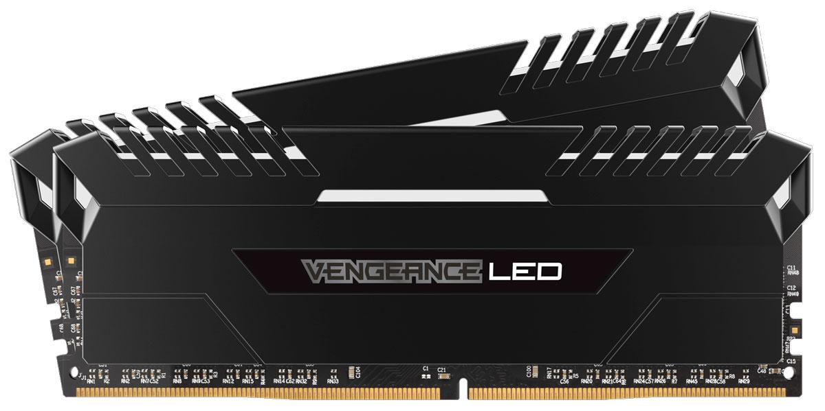 Corsair Vengeance LED DDR4 2x16Gb 2666 МГц комплект модулей оперативной памяти (CMU32GX4M2A2666C16)CMU32GX4M2A2666C16Независимо от того, обновляете ли вы систему, создаете ли сверхбыструю игровую станцию или пытаетесь побить мировой рекорд по увеличению тактовой частоты - компания Corsair превзойдет все ваши ожидания. Добро пожаловать в семью Vengeance LED!Модули памяти Corsair Vengeance LED серии DDR4 создают неповторимый стиль благодаря яркой светодиодной подсветке, а тщательно сконструированная панель подсветки создана специально для соответствия тематическому дизайну большинства материнских плат и компонентов для игровых ПК. Благодаря модулям памяти Vengeance LED даже простая игровая система может выглядеть уникальной.При изготовлении каждого модуля использовались десятислойные высокопроизводительные печатные платы для улучшения пропускания сигналов и специально подобранные интегральные микросхемы, обеспечивающие непревзойденный разгон и надежную работу на новейших материнских платах Intel серий X99 и 100. Предварительно настраиваемые профили XMP 2.0 для надежного автоматического разгона.