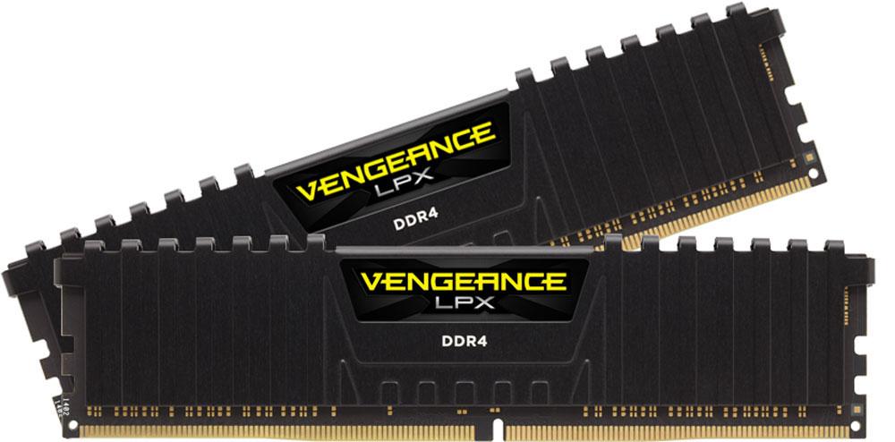 Corsair Vengeance LPX DDR4 4х8Gb 2800 МГц, Black комплект модулей оперативной памяти (CMK32GX4M4B2800C14)CMK32GX4M4B2800C14Модули памяти Vengeance LPX разработаны для более эффективного разгона процессора. Теплоотвод выполнен из чистого алюминия, что ускоряет рассеяние тепла, а восьмислойная печатная плата значительно эффективнее распределяет тепло и предоставляет обширные возможности для разгона. Каждая интегральная микросхема проходит индивидуальный отбор для определения уровня потенциальной производительности.Форм-фактор DDR4 оптимизирован под новейшие материнские платы серии Intel X99/100 Series и обеспечивает повышенную частоту, расширенную полосу пропускания и сниженное энергопотребление по сравнению с модулями DDR3. В целях обеспечения стабильно высокой производительности модули Vengeance LPX DDR4 проходят тестирование совместимости на материнских платах серии X99/100 Series. Имеется поддержка XMP 2.0 для удобного разгона в автоматическом режиме.Максимальная степень разгона ограничивается рабочей температурой. Уникальный дизайн теплоотвода Vengeance LPX обеспечивает оптимальный отвод тепла от интегральных микросхем в канал охлаждения системы, чтобы вы могли добиться большего.Vengeance LPX будет готов к появлению первых материнских плат Mini-ITX и MicroATX для памяти DDR4. Его компактный форм-фактор оптимально подходит для размещения в небольших корпусах или в системах, где требуется оставить свободным максимум внутреннего пространства.
