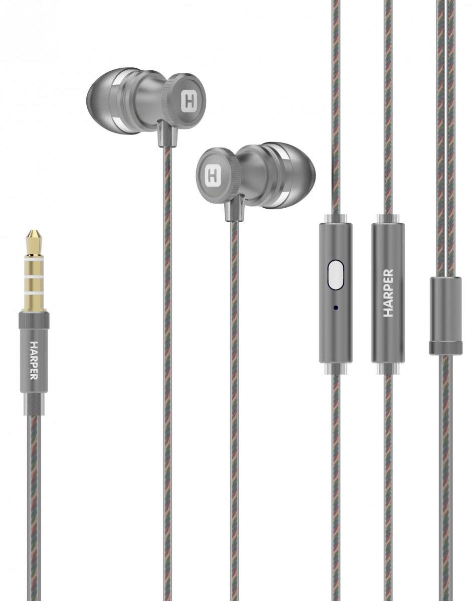 Harper HV-806, Grey наушники00-00001331Проводные стереонаушники Harper HV-806 имеют оптимальную для уха форму (выполнены в бионическом дизайне). Силиконовые накладки трех самых популярных размеров поставляются в комплекте - это позволит вам подобрать такой вариант, который будет наиболее комфортен при использовании наушников.Технические характеристики Harper HV-806 обеспечивают максимально качественную передачу звука прослушиваемых композиций любого стиля. Довольны останутся и любители насыщенных басов. Встроенный в корпус наушников миниатюрный микрофон позволяет использовать Harper HV-806 в качестве телефонной гарнитуры - совершать, принимать и отклонять звонки, оставляя при этом руки свободными.Управление треками осуществляется при помощи всего одной кнопки на корпусе наушников. Специальные комбинации нажатий подробно описаны в инструкции по эксплуатации.