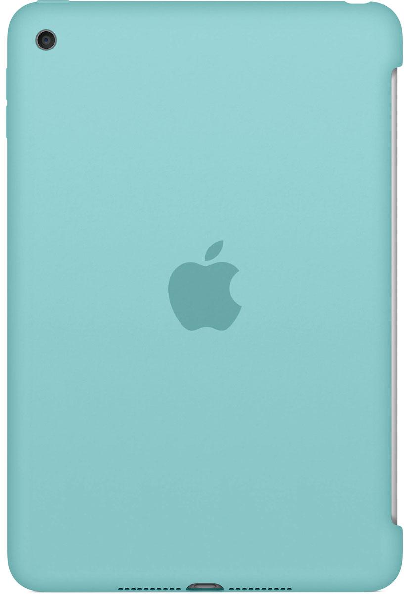 Apple Silicone Case чехол для iPad mini 4, Sea BlueMN2P2ZM/AСиликоновый чехол защищает заднюю поверхность iPad mini 4 и идеально совместим со Smart Cover, чтобы ваше устройство было в безопасности с обеих сторон. Чехол с гладкой силиконовой поверхностью очень приятен на ощупь и надёжно оберегает iPad mini 4, сохраняя его корпус таким же тонким и изящным.
