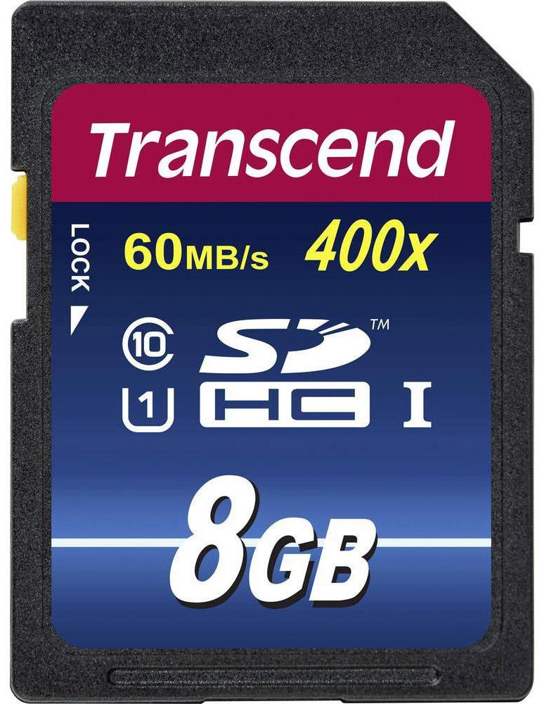 Transcend Premium SDHC Class 10 UHS-I 400x 8GB карта памятиTS8GSDU1Карта памяти Transcend Class 10 SDHC Ultra High Speed поддерживает как впечатляющую спецификацию Class 10, так и USH-I, которая обеспечивает значительный прирост быстродействия. Всё это позволит полностью раскрыть потенциал вашей цифровой камеры. При работе вместе с UHS-I совместимыми устройствами карта памяти передаёт данные с молниеносной скоростью, что идеально подходит для высокоскоростной последовательной съёмки и плавной записи Full HD видео.