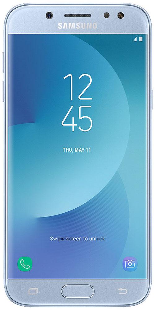 Samsung SM-J530F Galaxy J5 (2017), Light BlueSM-J530FZSNSERРазработанный с самым пристальным вниманием к деталям, смартфон Samsung Galaxy J5 получил полностью металлический корпус с нулевым выступом камеры, благодаря чему смартфон удобно держать одной рукой, а также стекло с эффектом 2.5D на 5,2-дюймовом HD-дисплее, обеспечивая ему дополнительную защиту.Основная камера с разрешением 13 Мпикс и апертурой F/1.7 позволяет делать четкие фотографии с улучшенной детализацией даже при слабом освещении, а ее интуитивно понятный интерфейс позволяет делать снимки одной рукой благодаря возможности перемещения кнопки спуска затвора на экране.Samsung Galaxy J5 позволяет делать яркие и четки селфи с более точной детализацией даже в условиях недостаточной освещенности благодаря фронтальной LED-вспышке. Вы также можете управлять спуском затвора простым жестом руки.Samsung Galaxy J5 имеет 2 ГБ оперативной памяти и 16 встроенной памяти, которую можно расширить до 256 ГБ с помощью карты microSD. Благодаря этим характеристикам Galaxy J5 отличается отличным быстродействием и высокой скоростью реагирования, что позволяет ускорить выполнение повседневных задач.Samsung Cloud позволяет создавать резервные копии, синхронизировать, восстанавливать и обновлять данные с помощью смартфона Galaxy, чтобы вы могли получать доступ ко всему, что вам нужно, когда и где вам это нужно.Функция Secure Folder от Samsung - это мощное решение для обеспечения безопасности, которое позволяет создать личное и полностью зашифрованное пространство для хранения различного контента, такого как фотографии, документы и аудиофайлы с дополнительным уровнем защиты, доступ к которому будете иметь только вы.Настройте свой мессенджер под себя. Samsung Galaxy J5 позволяет настраивать две учетные записи для одного мессенджера с различными целями. Пользователи могут настраивать и легко управлять второй учетной записью мессенджера одновременно из главного экрана и меню настроек.Мобильные платежи теперь можно совершать еще боле