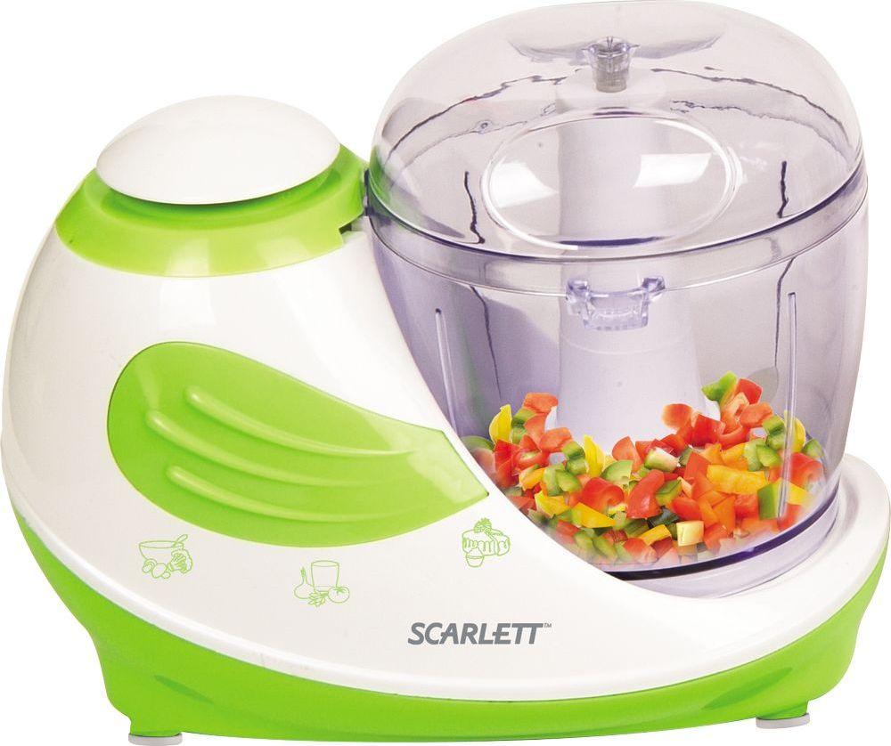 Scarlett SC-KP45S02, White Green измельчительSC-KP45S02Чоппер, 250Вт, объем 0.31 л, импульсный режим